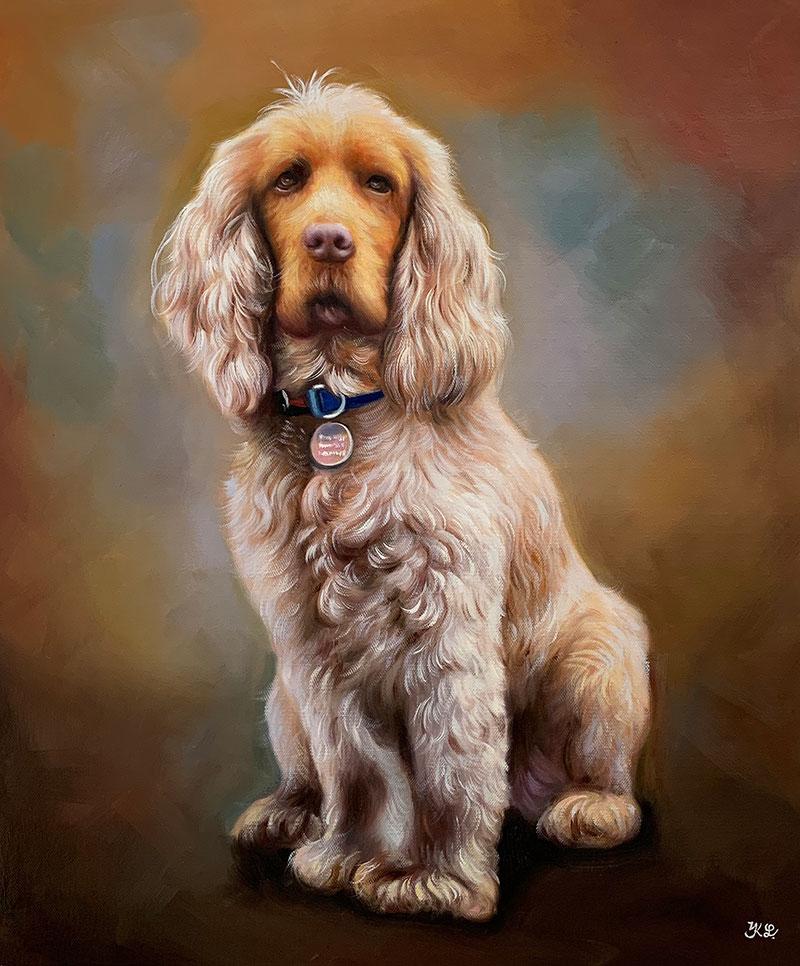custom acrylic portrait of bright blonde dog