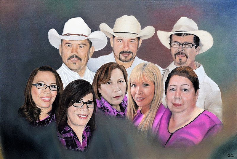 a custom oil paintng of family with cowboy hats