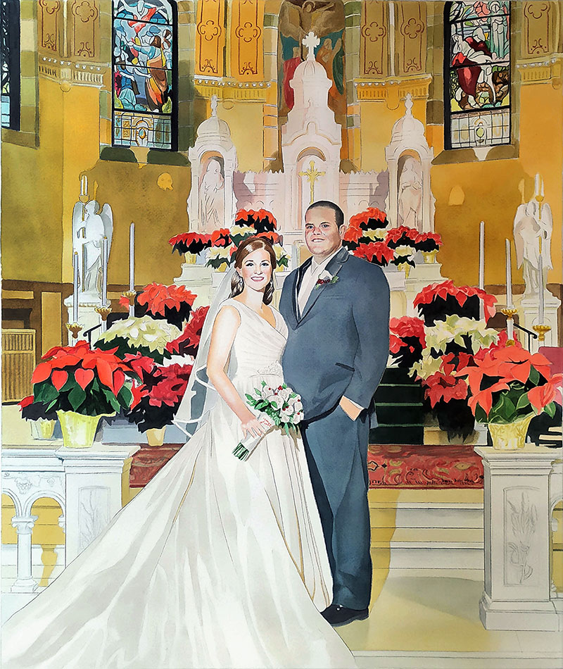 custom watercolor painting of bride and groom at church