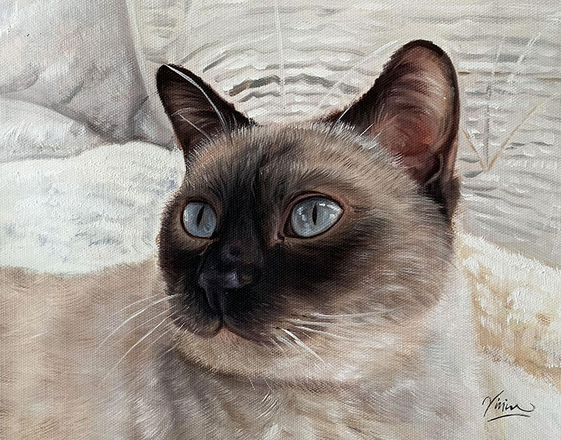 oil painting of a grey cat with light blue eyes