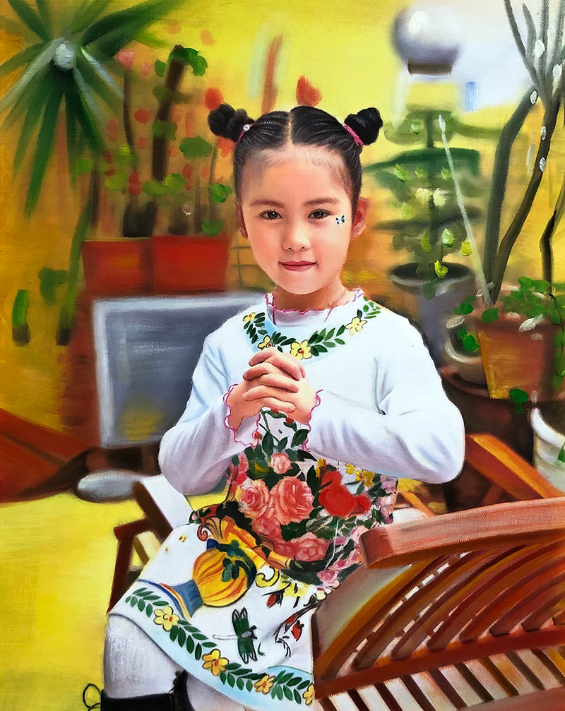 a custom oil painting of an asian child  colorful