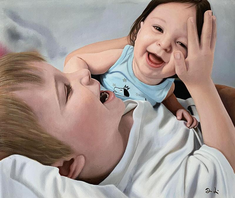 a custom oil painting of siblings having fun