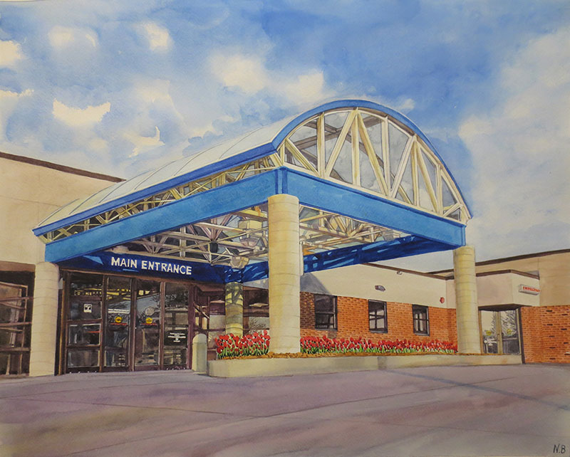 custom watercolor painting of main entrance to building