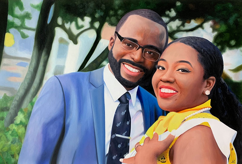 custom oil painting of happy black couple hugging outside