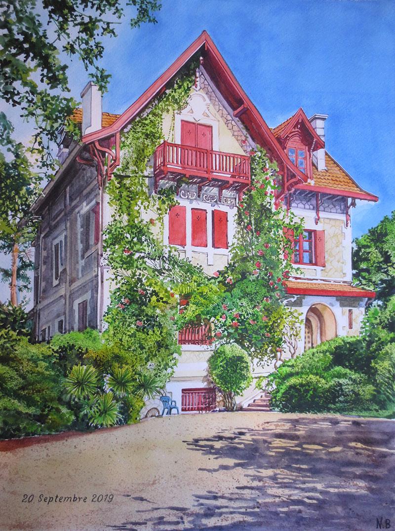 casa ritratto acquerello da fotografia