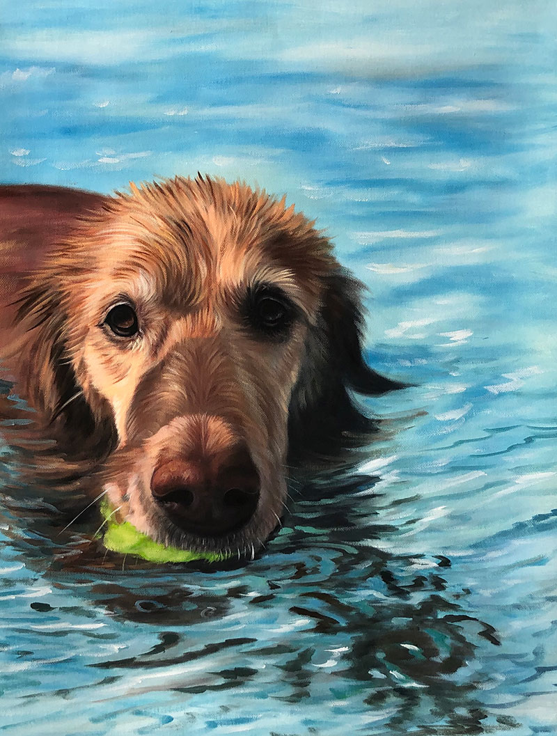 Custom acrylic painting of a dog
