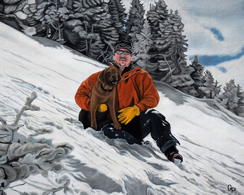 Custom handmade oil painting of an adult with a dog