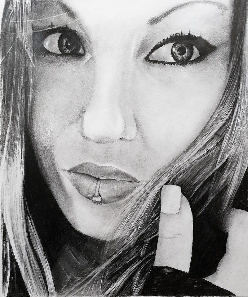 Custom close up black pencil drawing of an adult