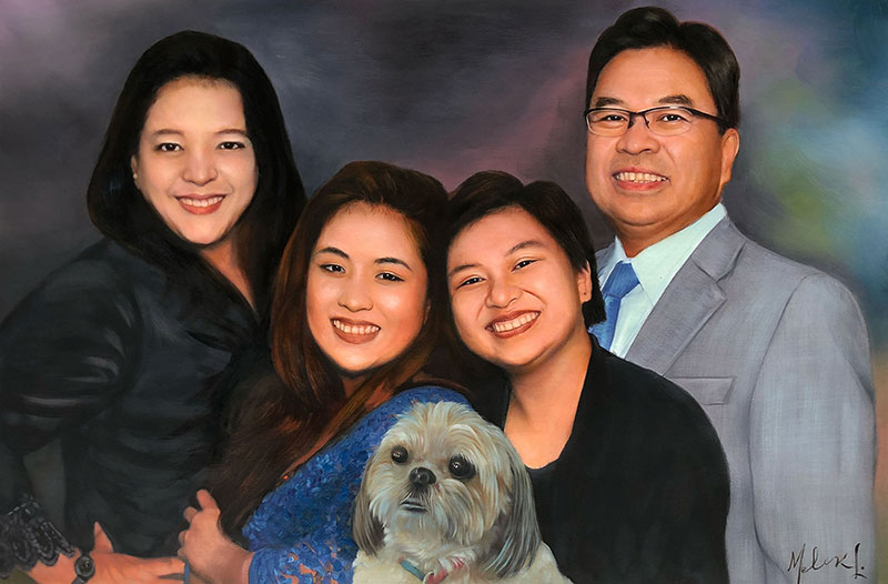 Beautiful acrylic family portrait with a dog