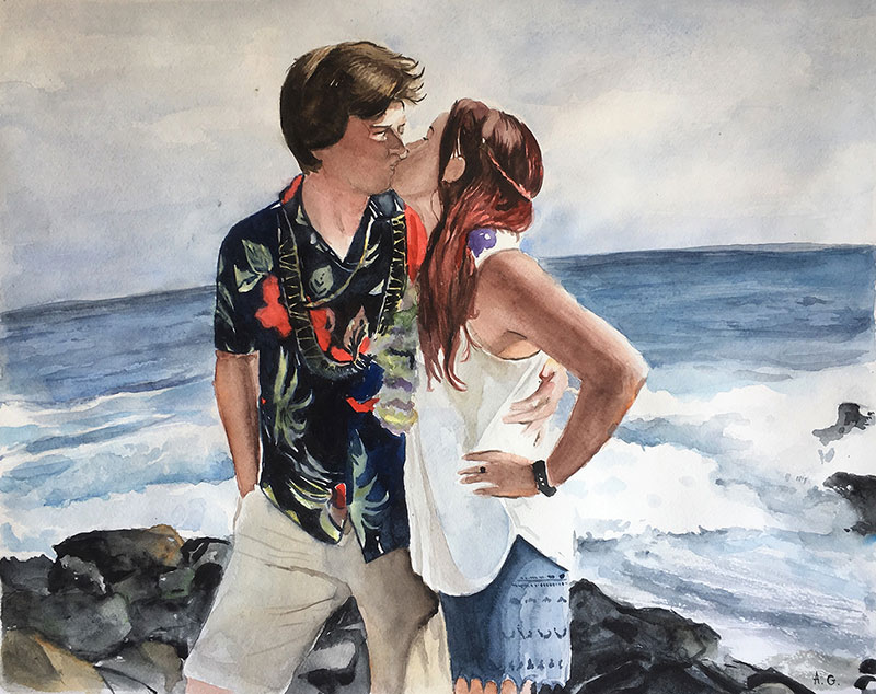 Gorgeous watercolor painting of a couple kissing