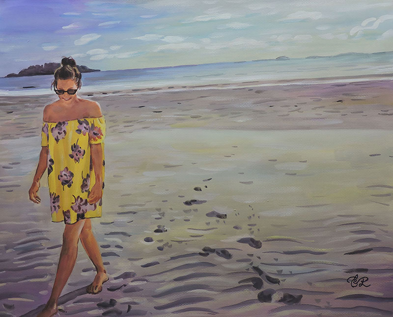 Beautiful pastel painting of an adult by the sea