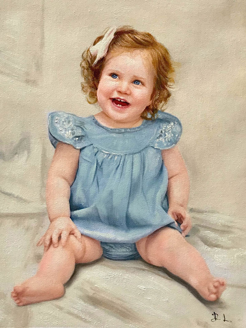 Beautiful baby oil portraits on canvas