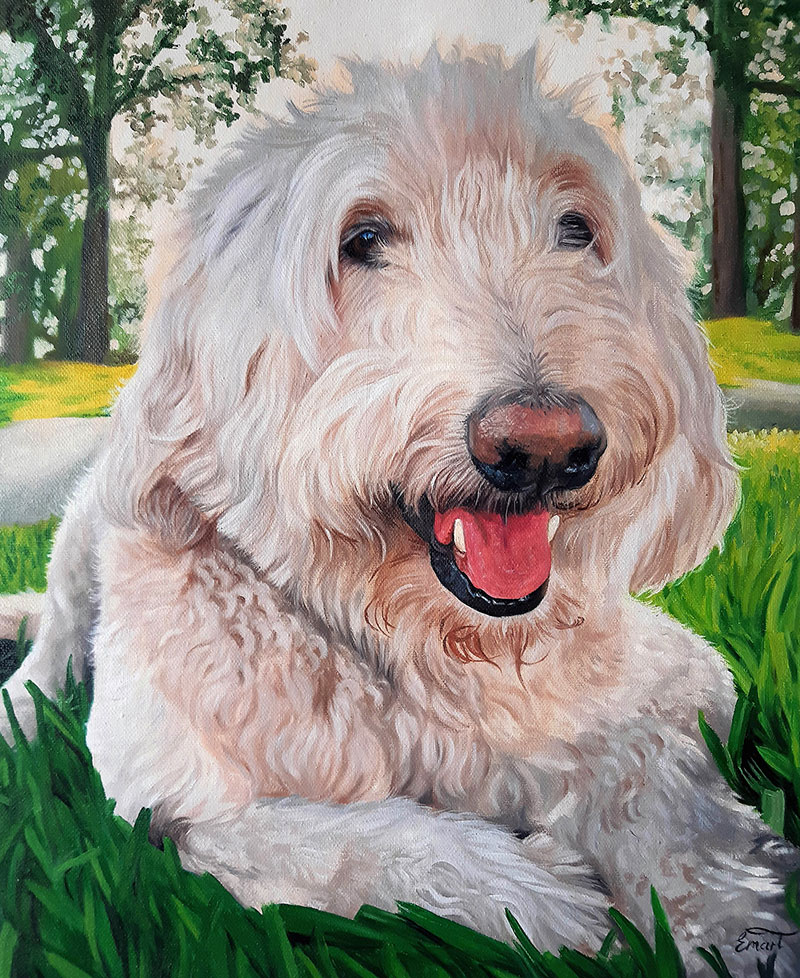 a custom oil painting of a white dog in the grass