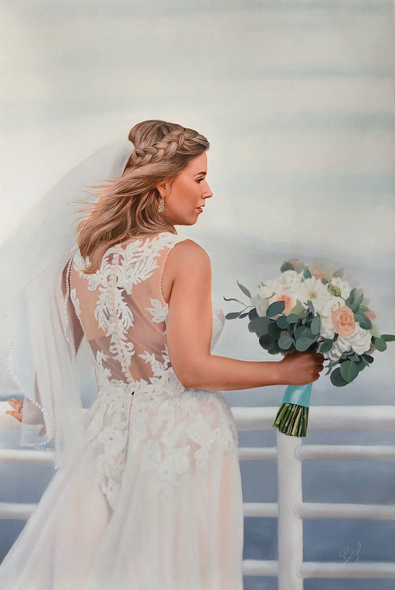 Gorgeous oil painting of a bride