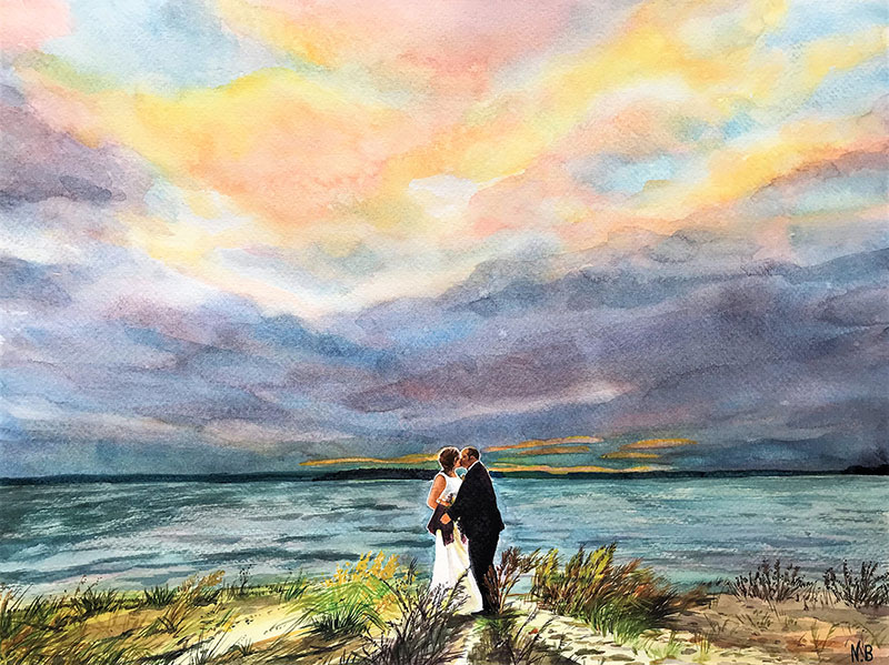 Gorgeous watercolor painting of a couple