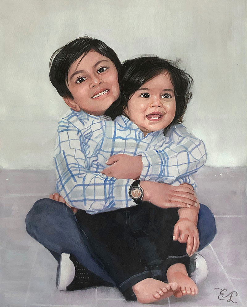 Beautiful pastel painting of two kids