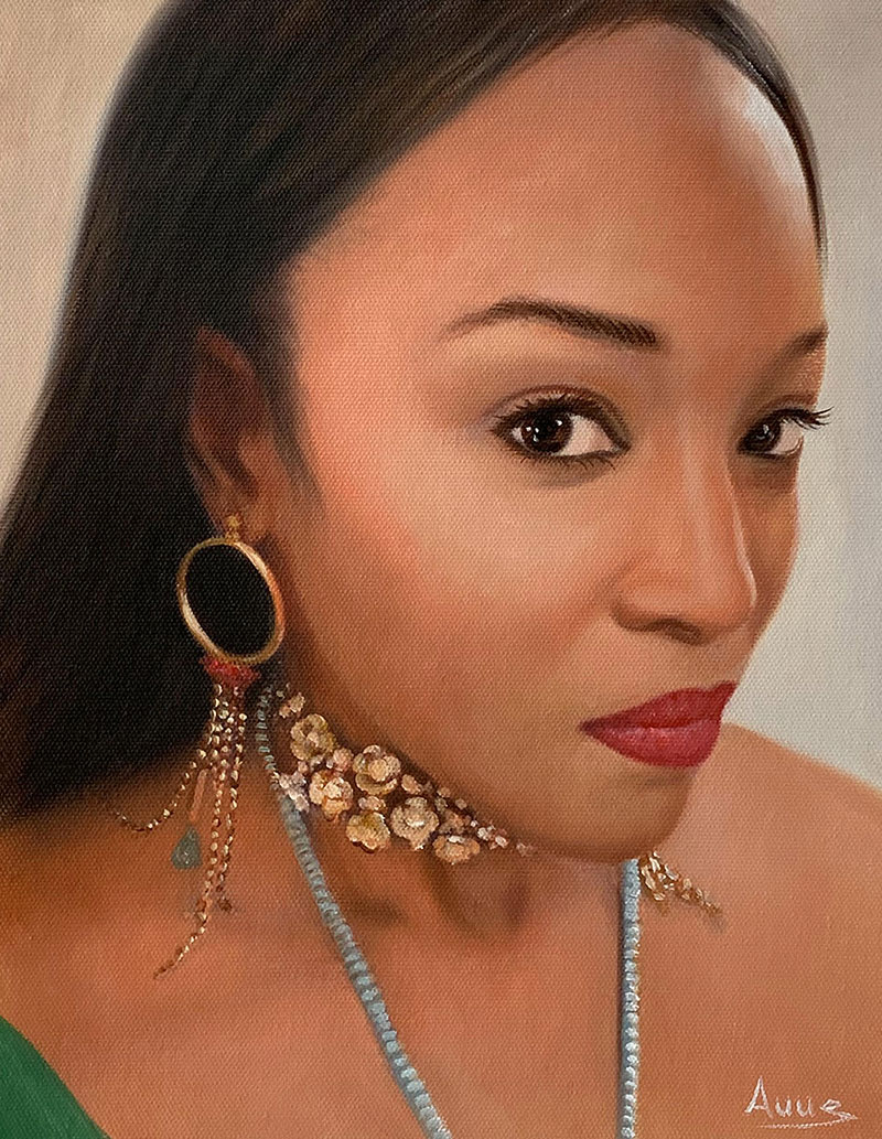 Custom close up oil portrait of a lady