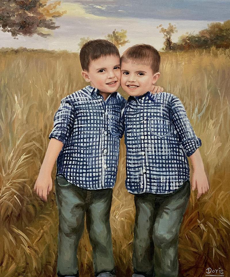 Beautiful handmade oil painting of twin boys