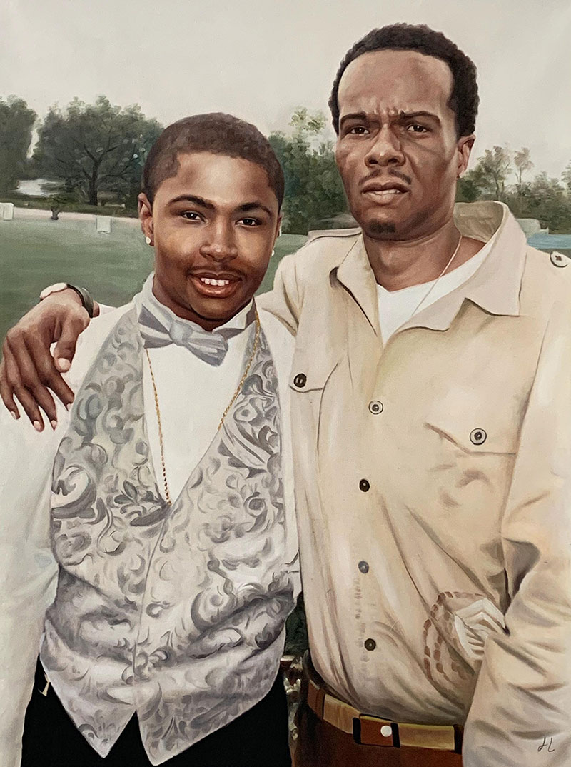 Custom oil painting of a father and son