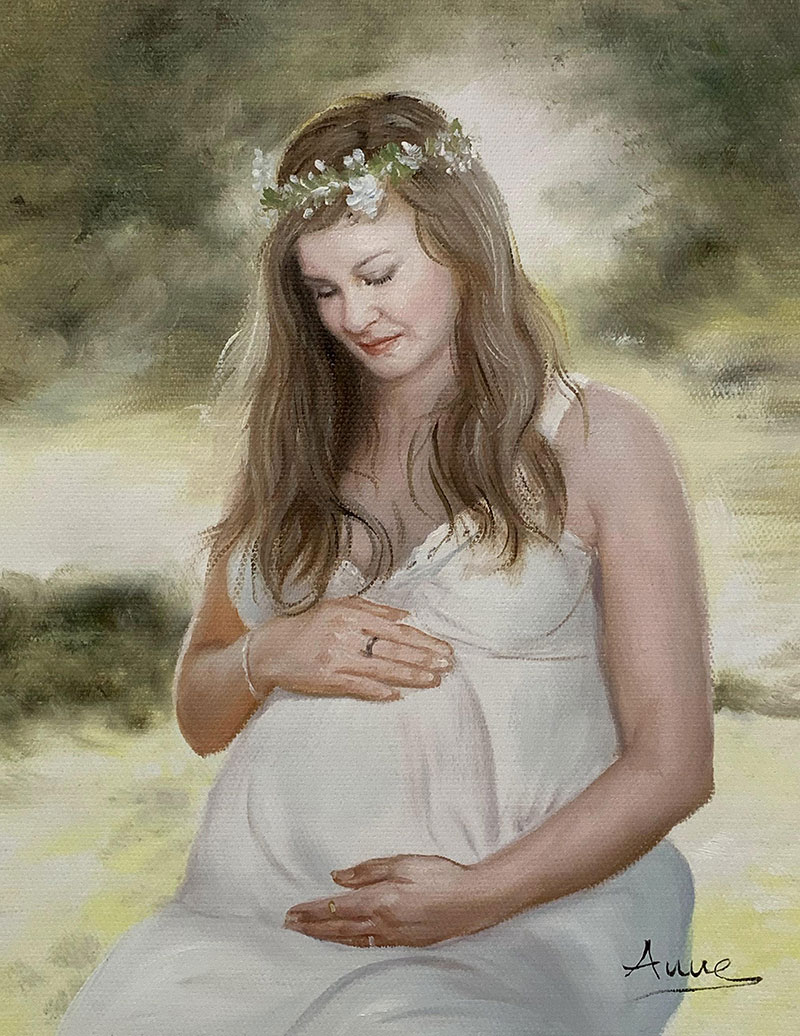 Beautiful oil painting of a pregnant lady