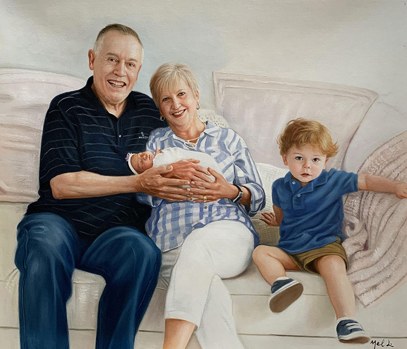 Beautiful family portrait in oil