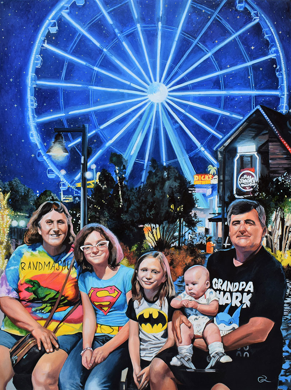 Custom handmade oil painting of a happy family