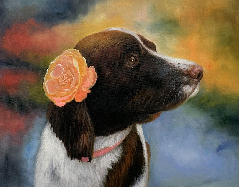 Beautiful handmade oil artwork of a dog with flower