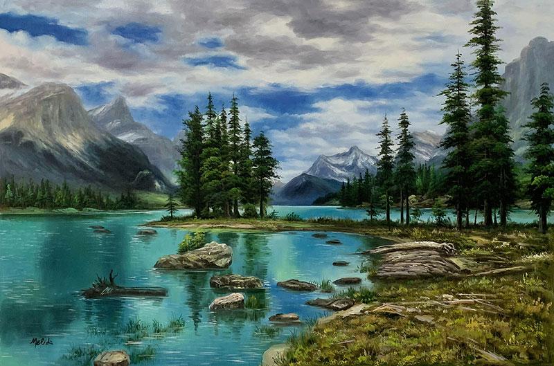 Custom handmade oil painting of a landscape