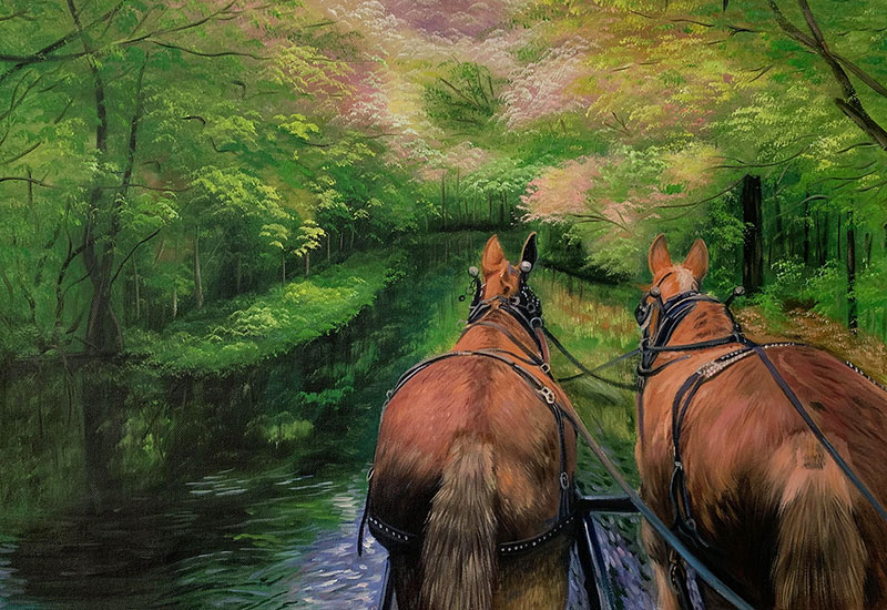 Beautiful handmade oil artwork of two horses