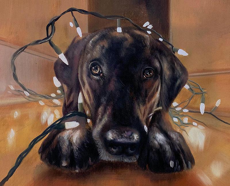 Beautiful handmade oil artwork of a dog with light bulbs