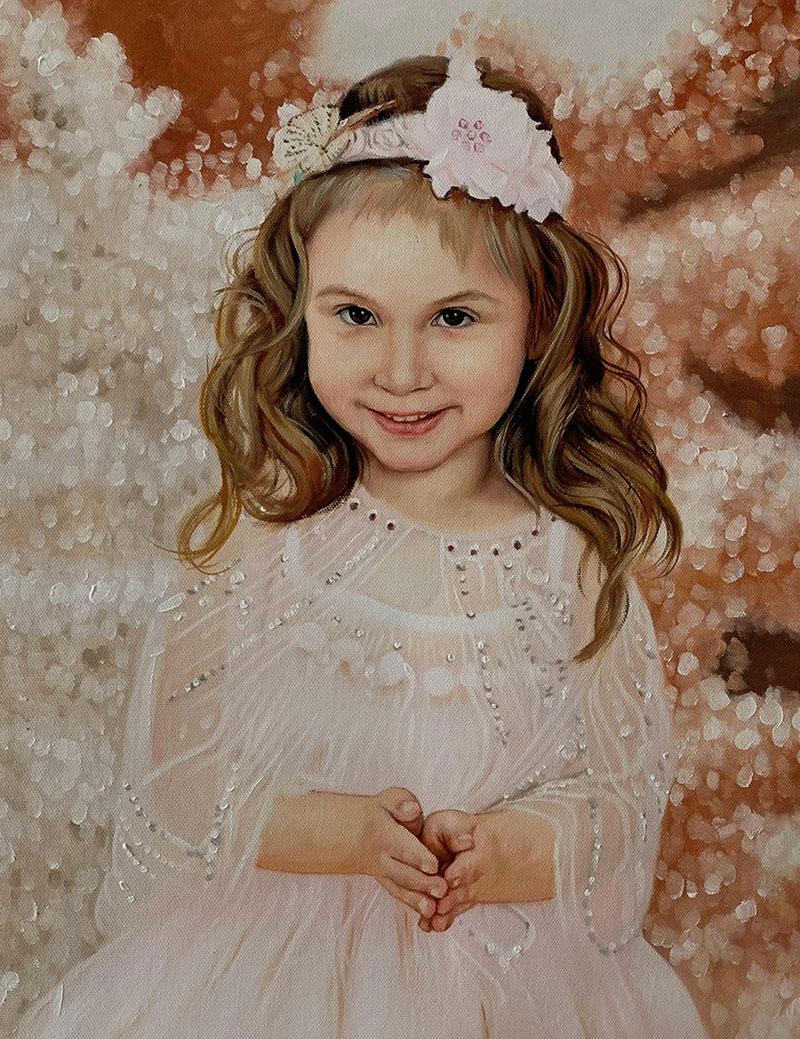 Custom oil painting of a little girl