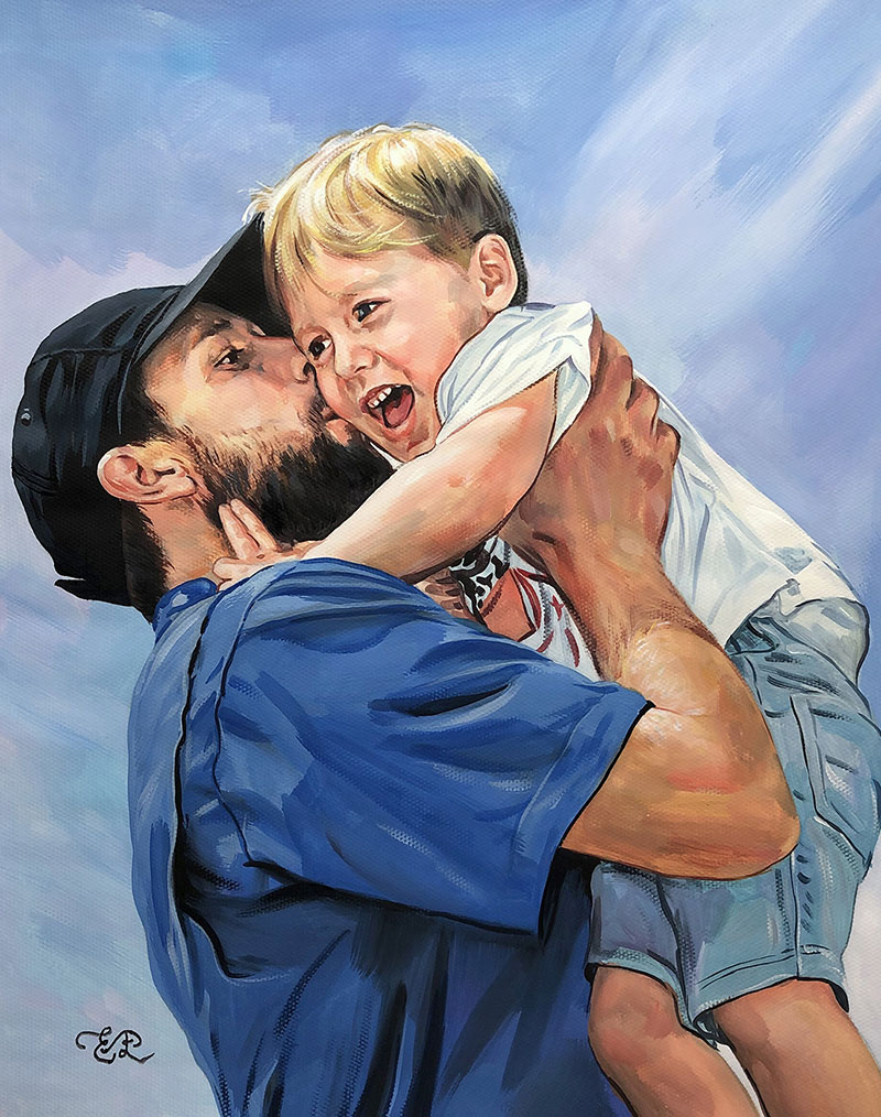 Beautiful pastel painting of a father and a son