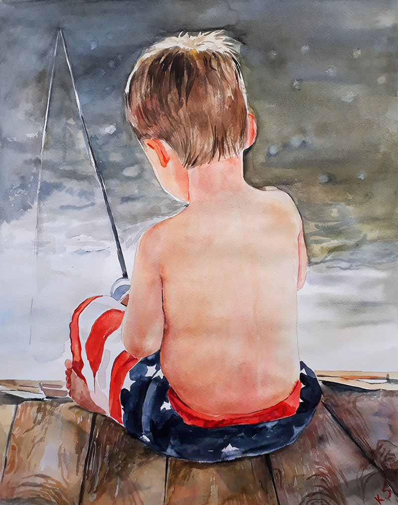 Custom watercolor painting of child