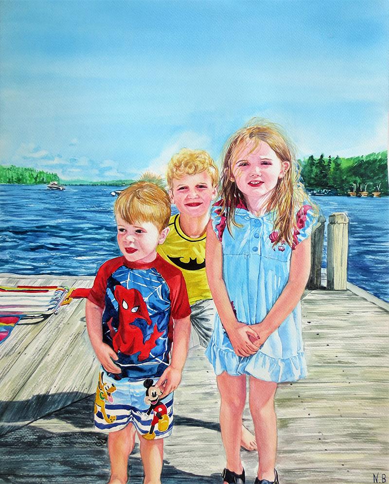Custom watercolor painting of children