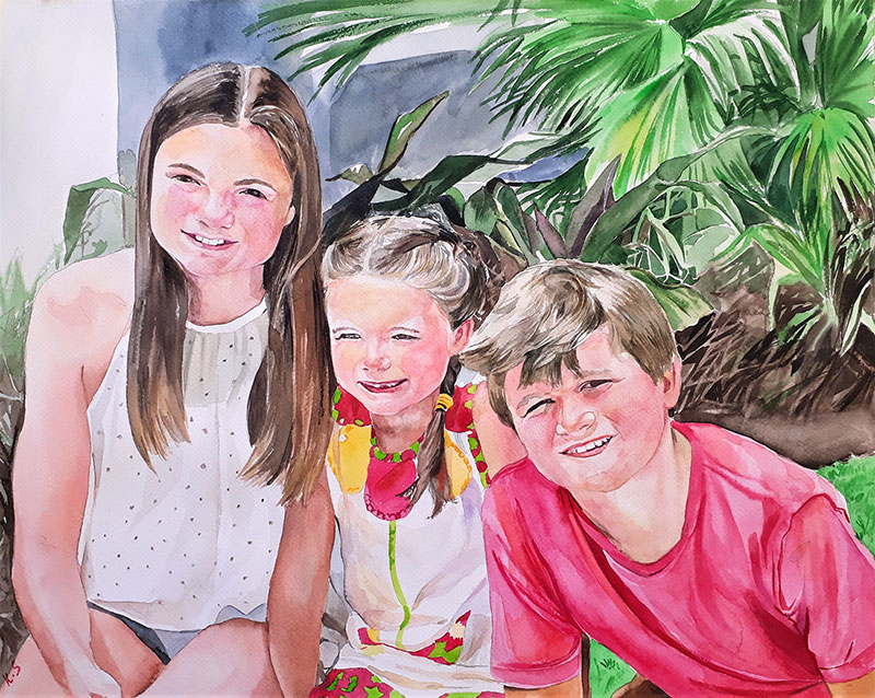 Custom watercolor painting of children