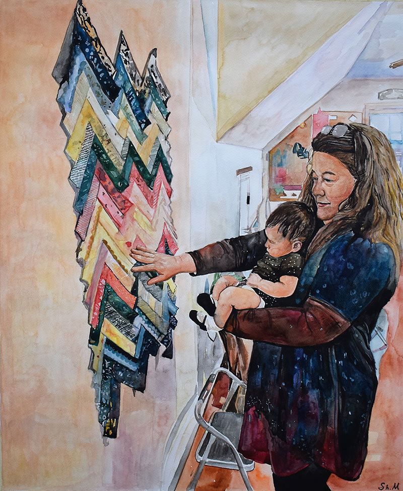 Custom watercolor painting of a mother and child
