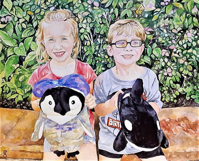 Custom watercolor painting of two kids