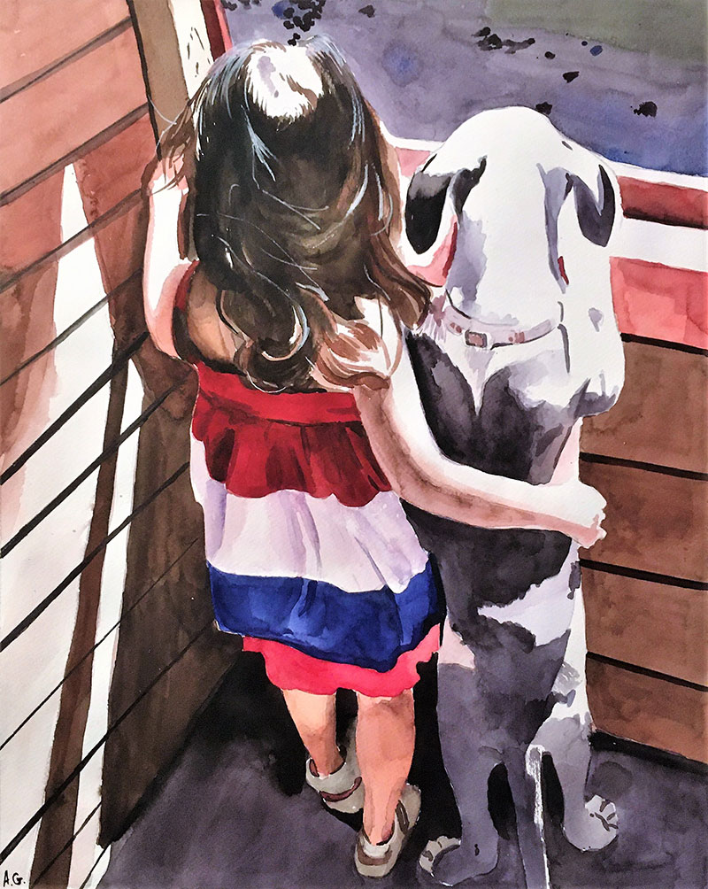 Custom watercolor painting of a girl with dog