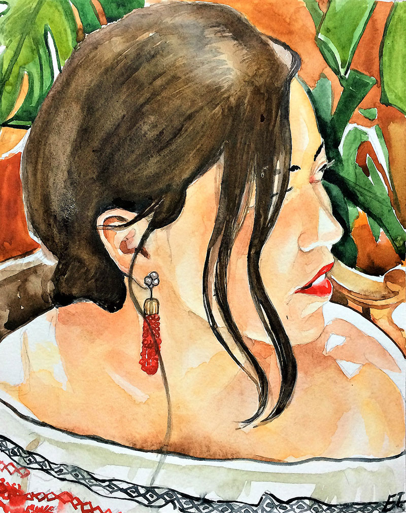 Custom watercolor painting of an adult