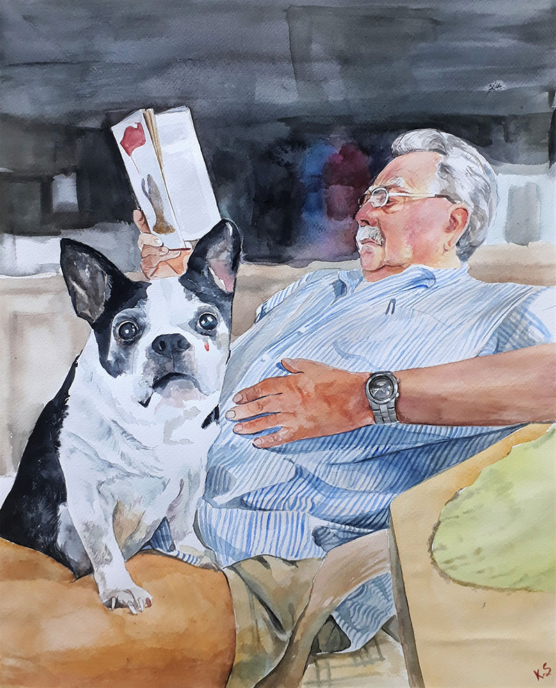 Custom watercolor painting of a gentleman with dog
