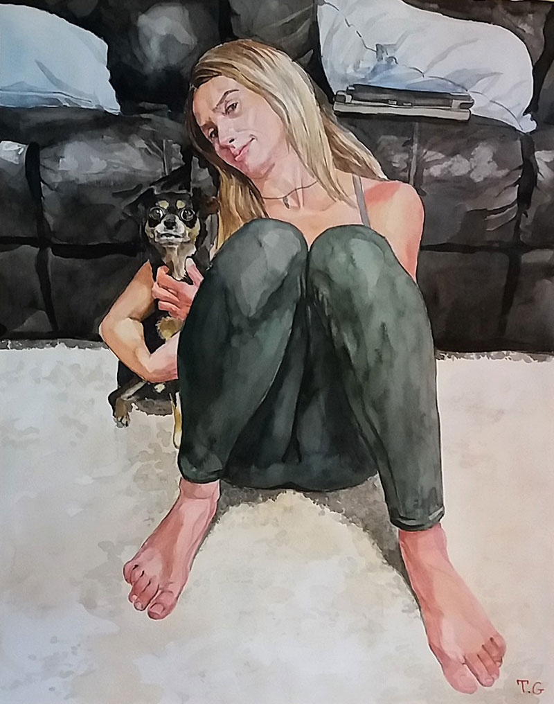 Custom watercolor artwork of a lady with dog