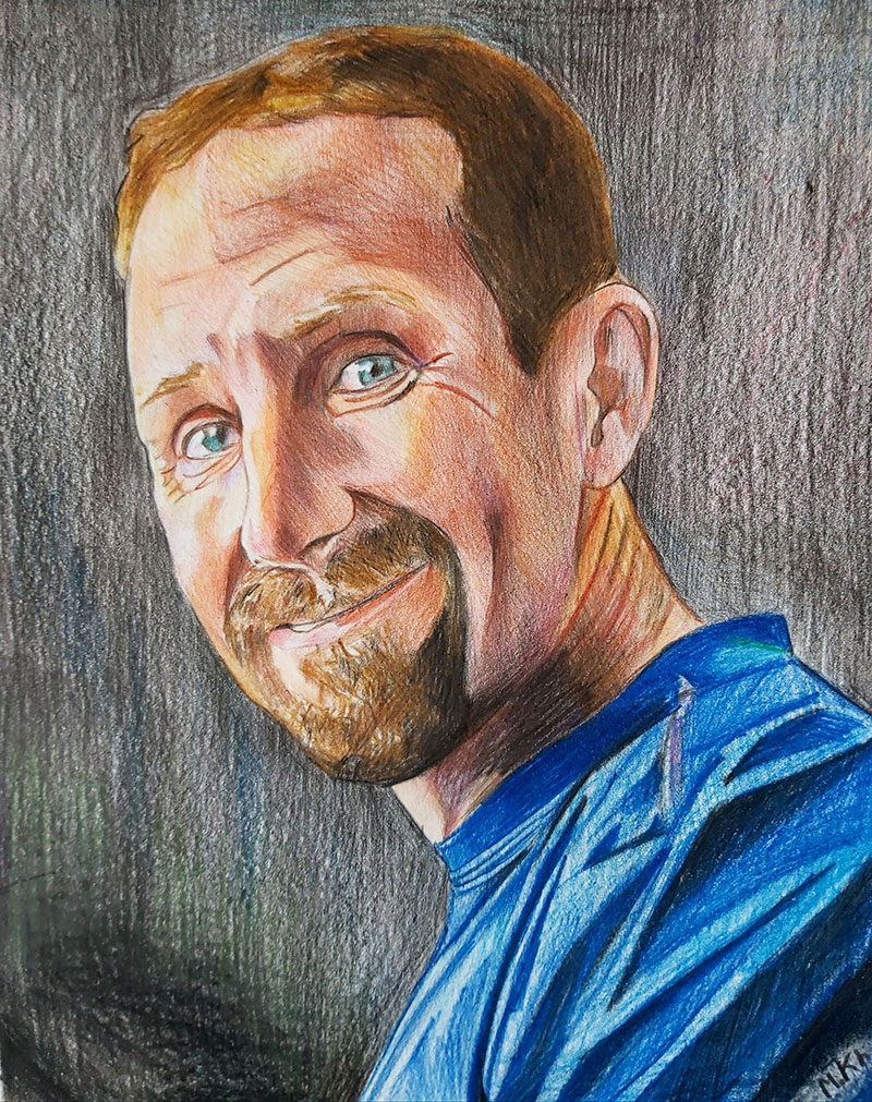 Custom color pencil drawing of an adult
