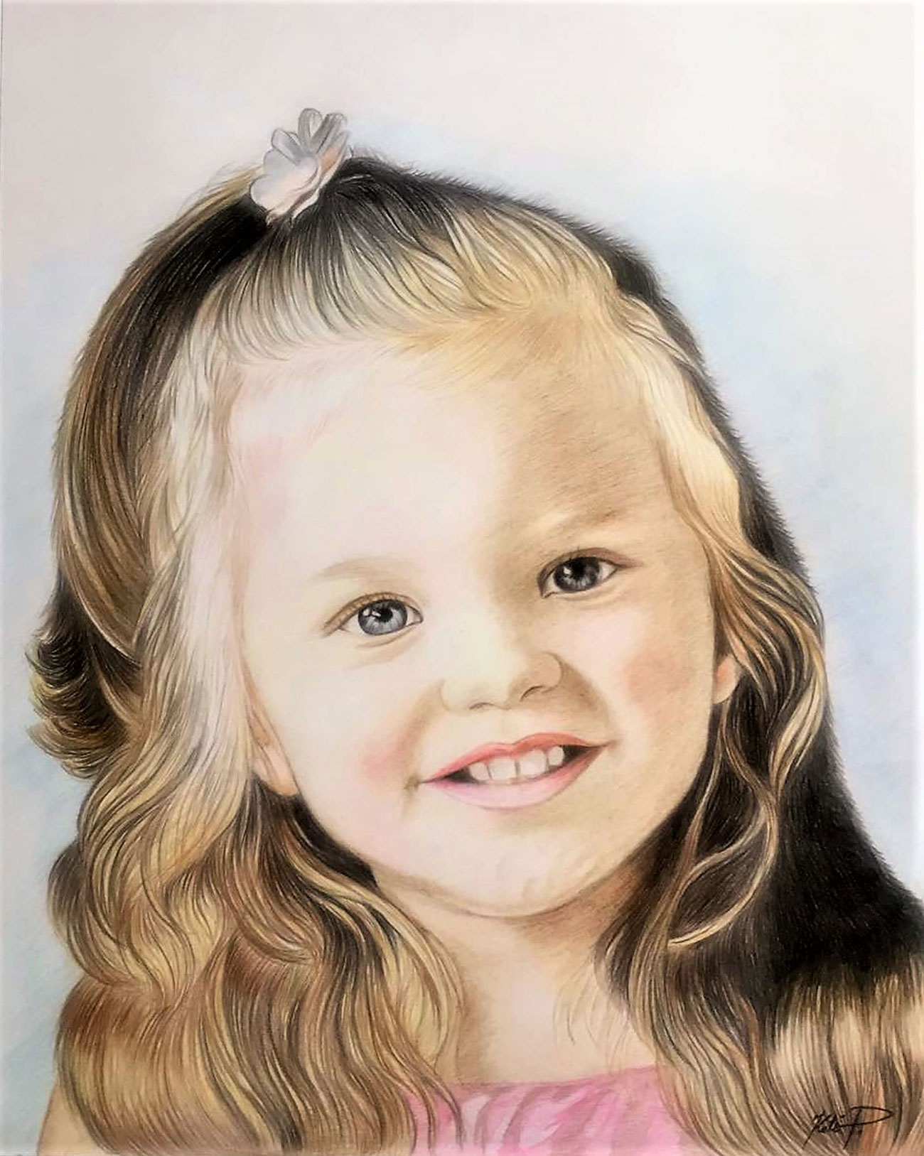 Custom color pencil drawing of a little girl