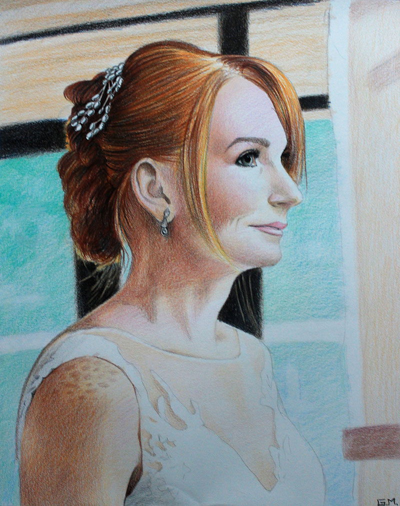 Beautiful color pencil drawing of a bride
