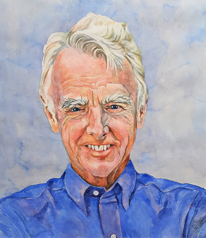Custom watercolor portrait of a man