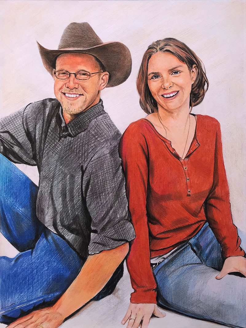 Beautiful color pencil drawing of a couple