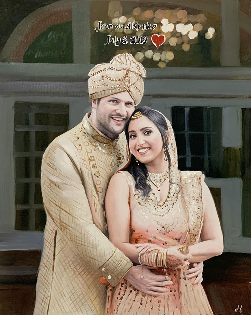 Beautiful oil artwork of a just married couple
