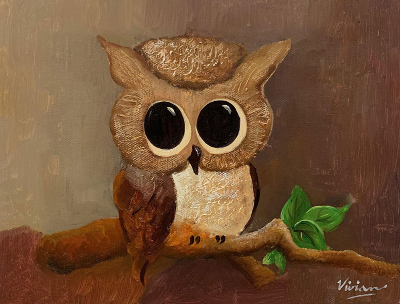 Beautiful handmade oil painting of an owl