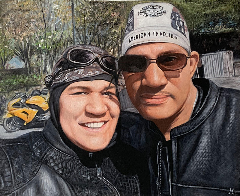 Custom oil painting of two adults