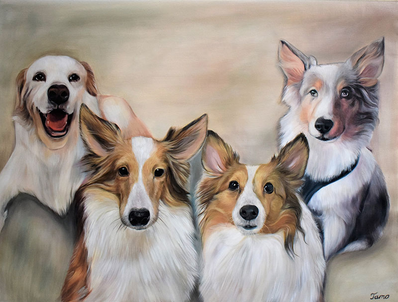 Beautiful handmade oil painting of four dogs
